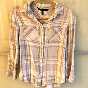 White gray silver flattering flannel top